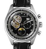 Zenith El Primero Chronomaster Grande Date Moon Horloge Staal / Zwart / Alligatorleder