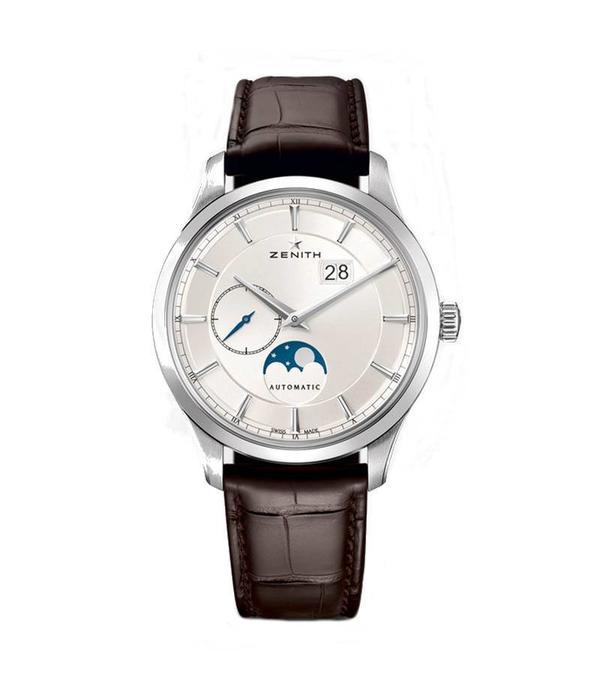Zenith Captain Moonphase Horloge Staal / Zilver / Alligatorleder
