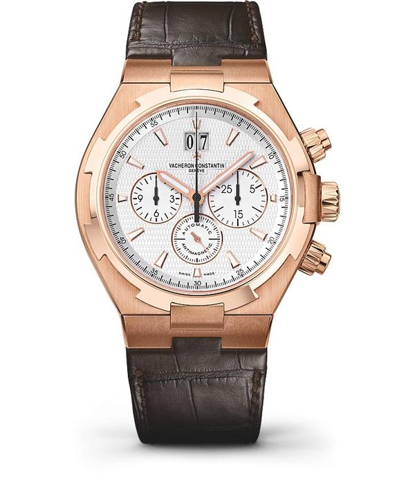 Vacheron Constantin Overseas Chronograph Horloge Roségoud / Zilver / Crocoleder