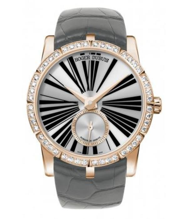 Roger Dubuis Exalibur 36 Horloge Roségoud Zilver / Alligatorleder