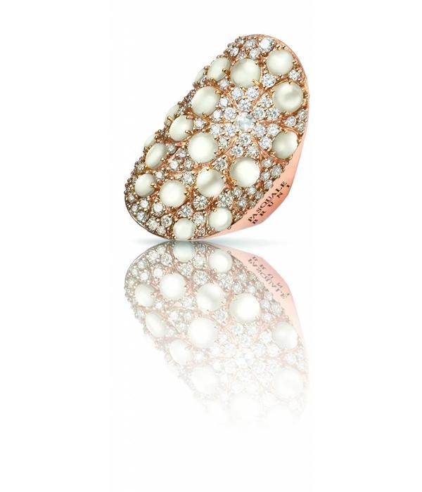 Pasquale Bruni Mandala Ring Bruin/Wit Diamant 18K Roségoud met Parelmoer