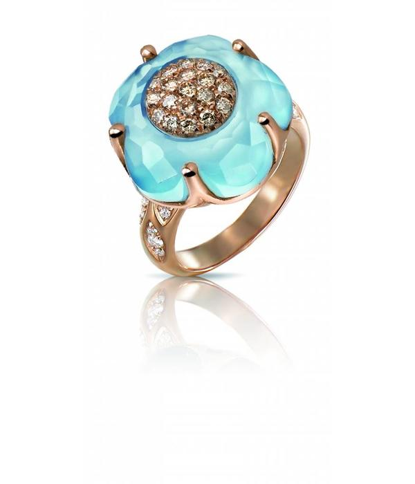 Pasquale Bruni Bon Ton Ring 18K Roségoud Diamant en Blauw Topaas