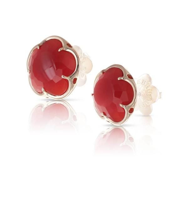 Pasquale Bruni Bon Ton Earring Studs 18K Rose Gold carneool Red