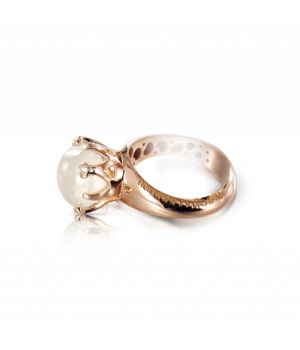 Pasquale Bruni Sissi io Amo Ring 18K Rose Gold melkkwarts