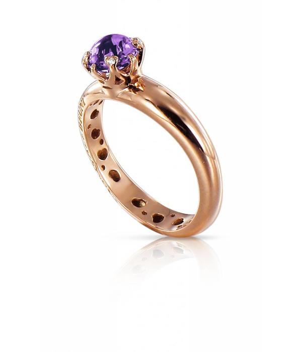 Pasquale Bruni Sissi io Amo 18K Rose Gold Ring with Amethist