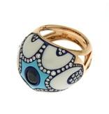 Chantecler Maiolica rosegouden ring met blauw saffier en briljant