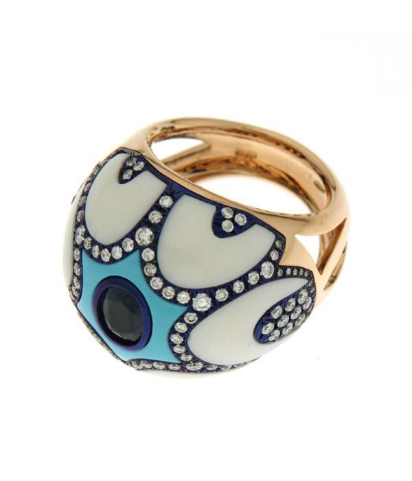 Chantecler Maiolica Ring diamant Wesselton (H) Roségoud 18K blauw saffier turquoise/kogolong met briljant