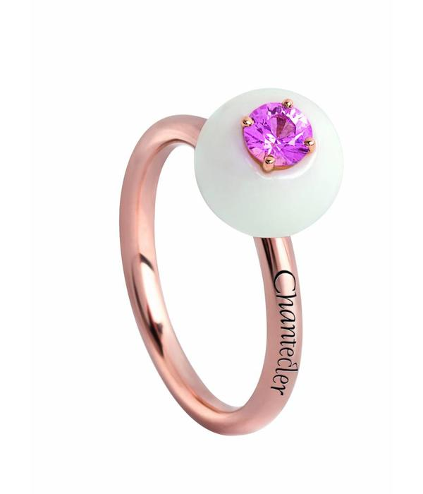 Chantecler Rose Gold 18 carat Jam di Bon Bon Ring with White Coral and Pink Sapphire