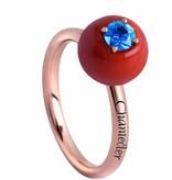 Chantecler Jam di Bon Bon Ring goud 18K Roségoud rood koraal met blauw saffier