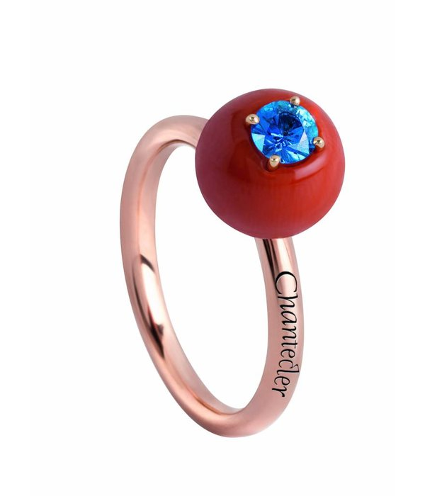 Chantecler Rose Gold 18 carat Jam di Bon Bon Ring with Red Coral and Blue Sapphire
