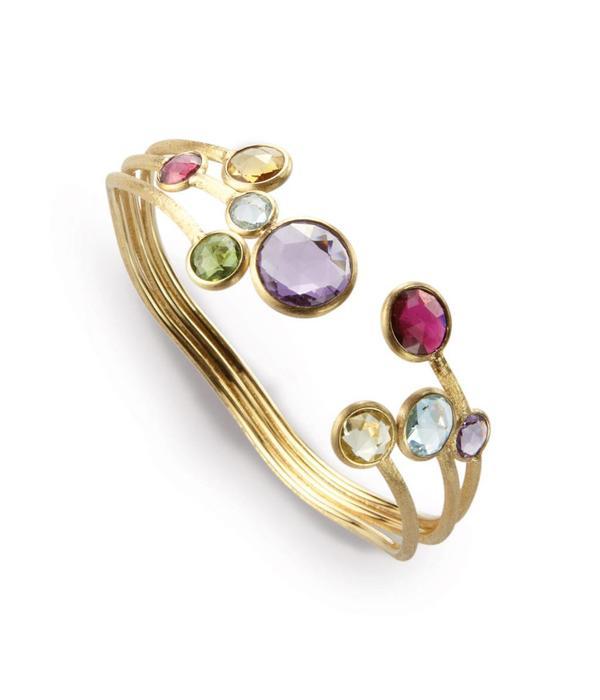 Marco Bicego Jaipur 18K Yellow Gold Bracelet with mix van 3 Rows edelstenen