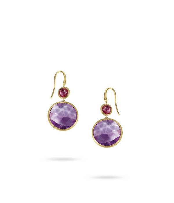 Marco Bicego Jaipur 18K Yellow Gold Amethist & Rose Tourmaline Earring Drops