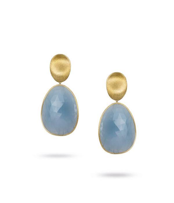 Marco Bicego Lunaria 18K Yellow Gold Medium Aquamarine Earring Drops