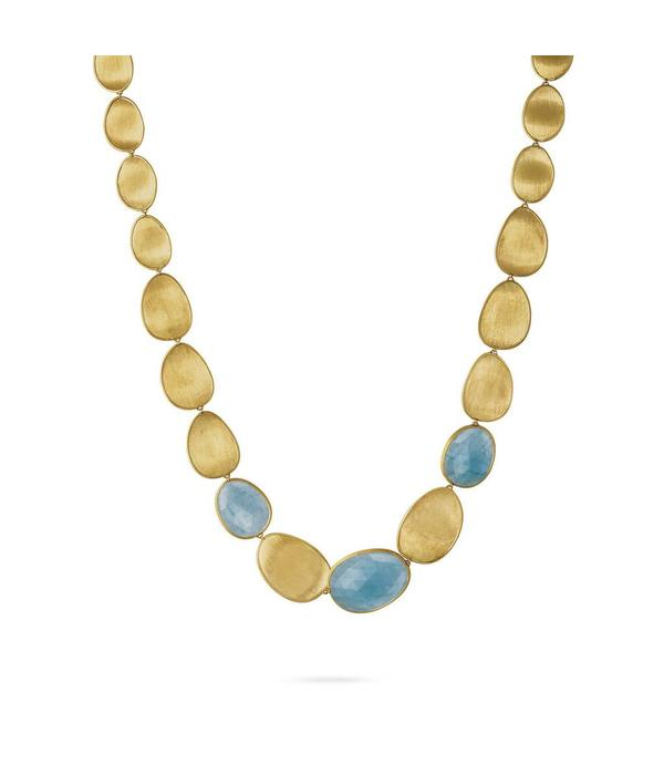 Marco Bicego Lunaria 18K Yellow Gold & Aquamarine Necklace