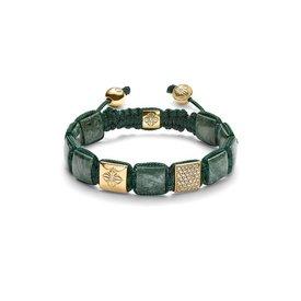 Shamballa Armband 18K Geelgoud / Forest Green