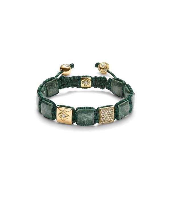 Shamballa Bracelet 18 Carat Yellow Gold / Forest Green