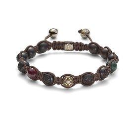 Shamballa Armband 18K Geelgoud / Zwart / Chocolate