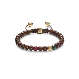 Shamballa Armband 18K Geelgoud / Diamanten / Ebony / Chocolate
