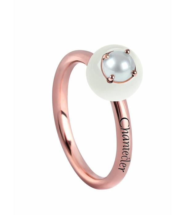 Chantecler Rose Gold 18 carat Jam di Bon Bon Ring with White Coral and Pearl