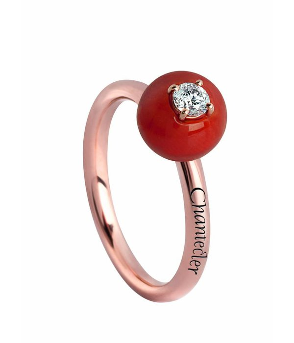 Chantecler Rose Gold 18 carat Jam di Bon Bon Ring with Red Coral and Brilliant