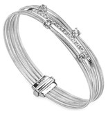 Marco Bicego Goa 18K Witgoud 4 rijen flexibele Armband 1 rij diamant