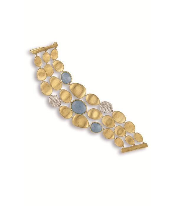 Marco Bicego Lunaria 18K Yellow Gold 3 Rows Bracelet  with Aquamarine