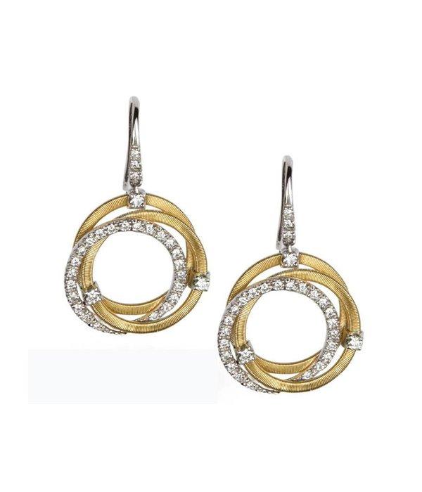 Marco Bicego Goa 18K Yellow Gold 3 cirkels with 3 Brillianten Earring Drops