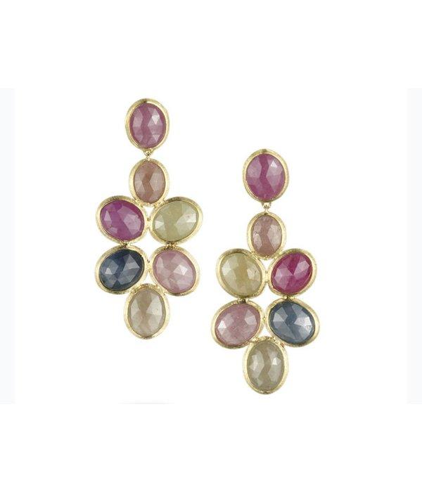 Marco Bicego Siviglia 18K Yellow Gold Earring Drops with verschillende kleuren saffier