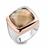 Tirisi Moda 18K Roségoud / Zilver / Rookkwarts Ring