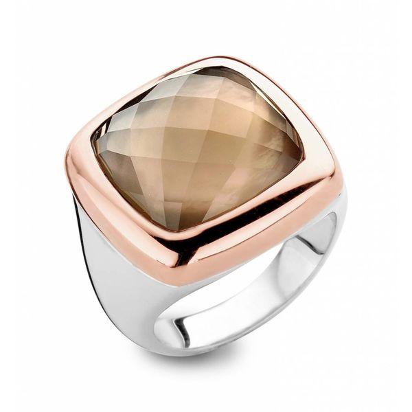 18K Rose Gold / Silver / Smoky Quartz Ring