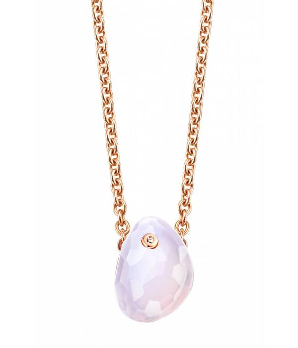 Tirisi Moda Shabby Chic 18K Rose Gold Necklace with Purple Chalcedoon