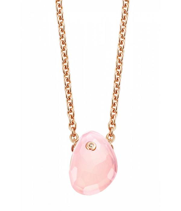 Tirisi Moda Shabby Chic 18K Rose Gold Necklace with Pink Kwarts