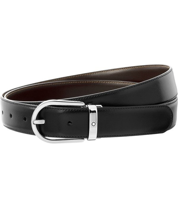 Montblanc Shiny palladium-coated leather horseshoe pin buckle belt