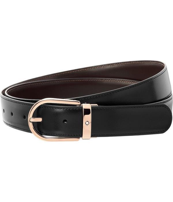 Montblanc leather belt horseshoe shiny red gold-plated