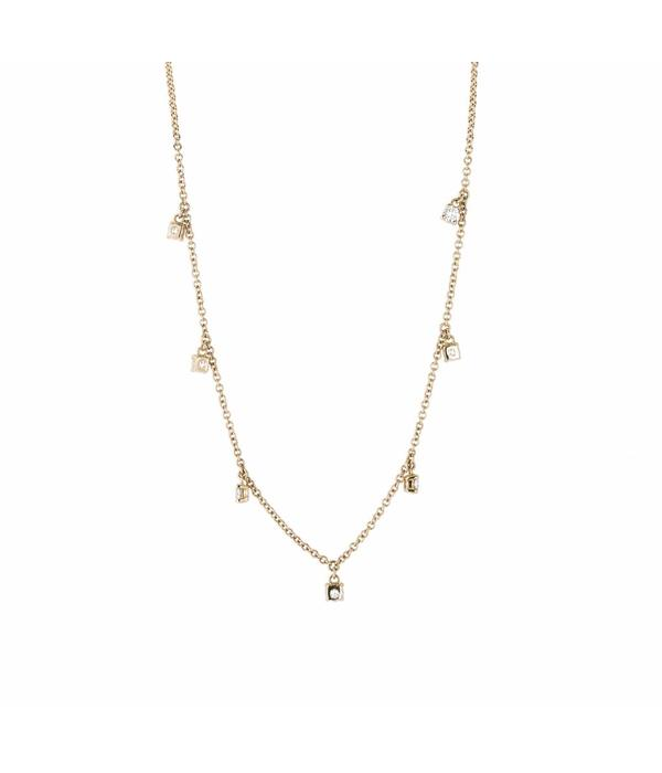 Schaap en Citroen Diamonds Necklace with 7 Diamonds Rose Gold