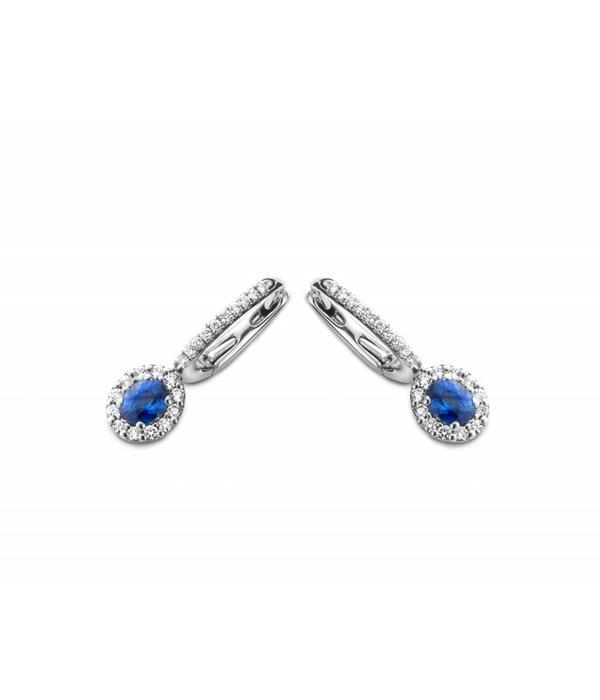 Schaap en Citroen Colours witgouden 18 krt. oorhangers met blauw saffier