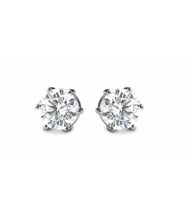Schaap en Citroen Diamonds Oorknoppen Solitair 6-poot Witgoud