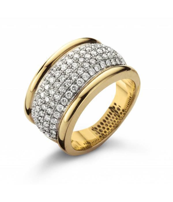 Schaap en Citroen Ring Geelgoud / Witgoud / Diamanten