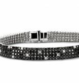 Highlights Armband 4 Rijen met Zwart en Wit Diamant Witgoud