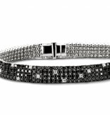SC Highlights Bracelet 4 Rows with Black and White Diamond / White Gold
