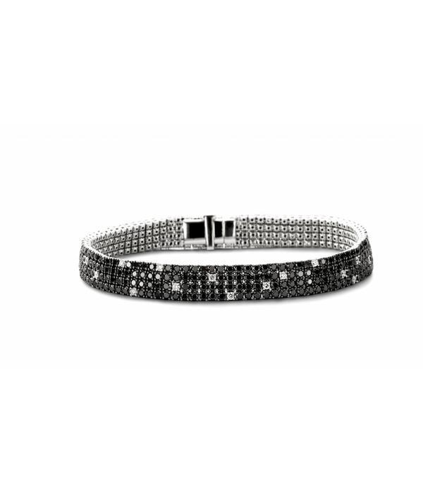 Schaap en Citroen Armband 4 Rijen met Zwart en Wit Diamant Witgoud