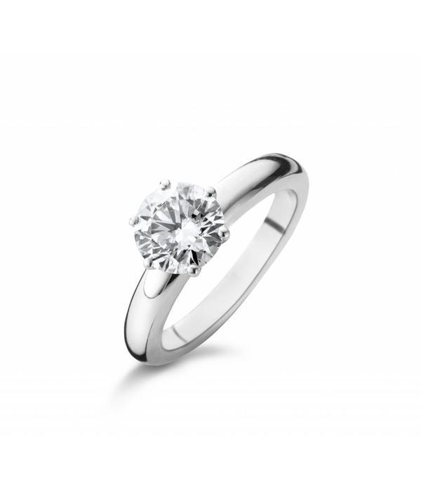Schaap en Citroen Ring Solitair 6-Poot met Diamant Witgoud