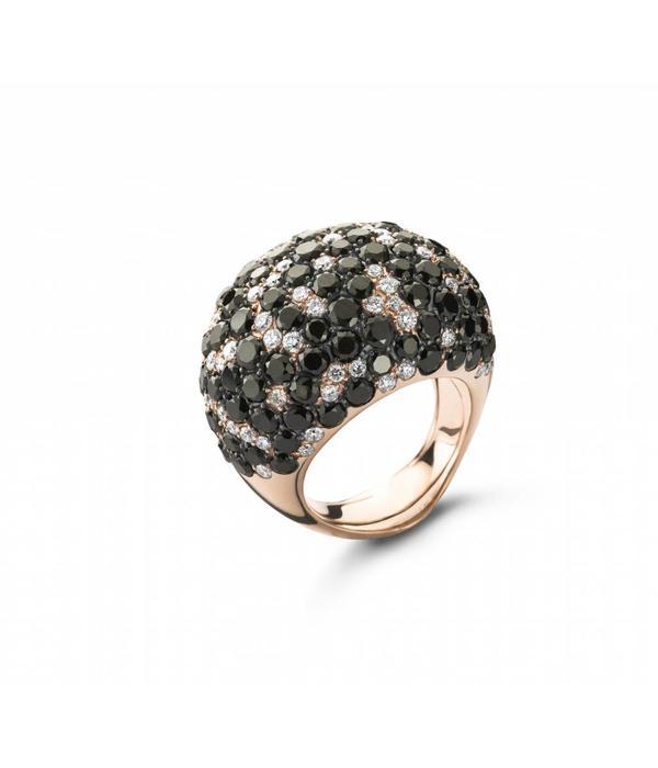 Schaap en Citroen Ring Bol Pavé Met Zwart en Wit Diamant Roségoud