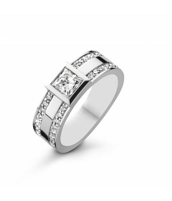 Schaap en Citroen Ring White Gold with princess Cut Diamond