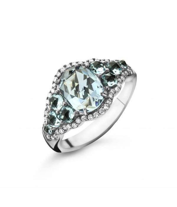 Highlights Ring Witgoud met Blauw Topaas en Diamant