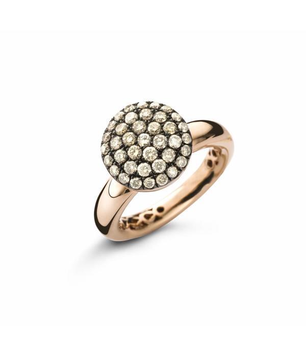 Schaap en Citroen Ring Rose Gold with circle Brown Diamond