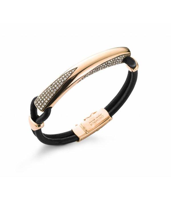 Oromalia Cuoio Bracelet with Leather Rose Gold