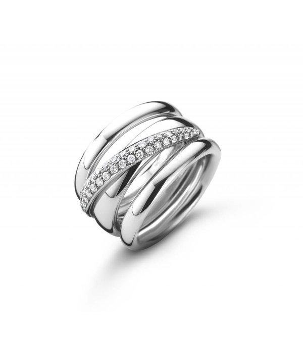 Oromalia ring 3 banden witgoud
