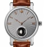 Christiaan v.d Klaauw Real Moon Joure 40mm Horloge Staal / Grijs / Alligatorleder