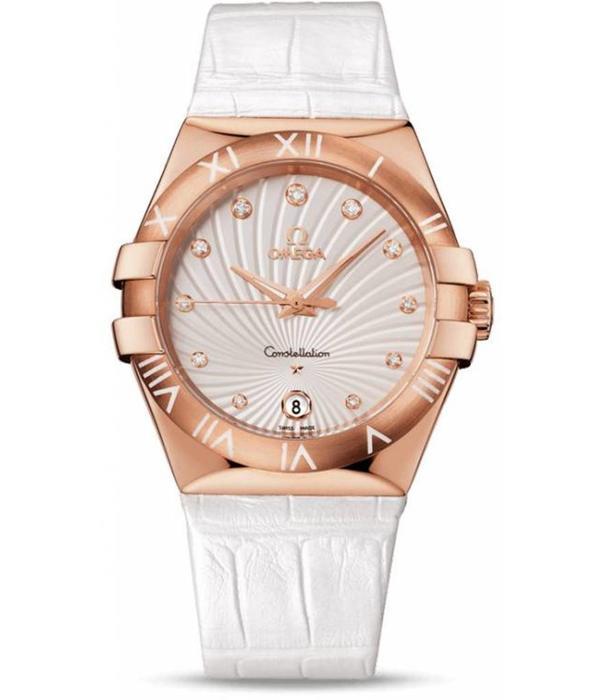 Omega Constellation Horloge Roségoud / Zilver / Alligatorleder